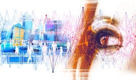 Concepto de la tecnología y del negocio Red y comunicación global ilustración del vector