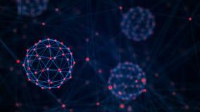 Concepto de la tecnolog?a de la cadena de bloque Conexiones con los puntos y las l?neas Visualizaci?n grande de los datos represe ilustración del vector