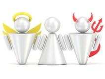 Concepto de la tentación Mujer, ángel y figuras del diablo 3d Imagen de archivo libre de regalías