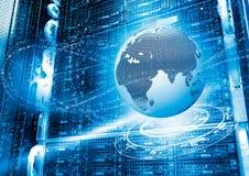 Concepto de la tierra del planeta rodeada por las corrientes digitales de ondas con el holograma en el almacenamiento en discos d fotografía de archivo