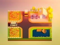 Concepto de la tierra verde en la visión isométrica Imagen de archivo