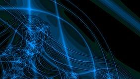 Concepto de la tierra y del universo, líneas y azul de neón y fractales del trullo en fondo negro ilustración del vector