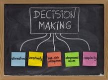 Concepto de la toma de decisión en la pizarra Fotografía de archivo