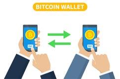 Concepto de la transacción de Bitcoin Cryptocurrency de compra usando la cartera del smartphone Ilustración del vector libre illustration