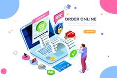 Concepto de la transacción financiera de los servicios onlines de las estadísticas ilustración del vector