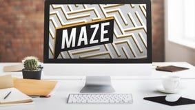 Concepto de la trayectoria de Maze Challenge Confusion Direction Exit Fotografía de archivo libre de regalías
