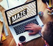 Concepto de la trayectoria de Maze Challenge Confusion Direction Exit Imágenes de archivo libres de regalías