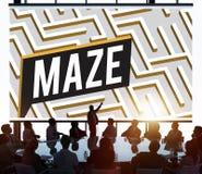 Concepto de la trayectoria de Maze Challenge Confusion Direction Exit Fotografía de archivo
