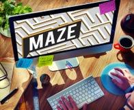 Concepto de la trayectoria de Maze Challenge Confusion Direction Exit Imagen de archivo libre de regalías