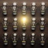 Concepto de la unicidad del bulbo que brilla intensamente Imagen de archivo libre de regalías
