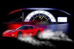 Concepto de la velocidad del coche deportivo del velocímetro Imagen de archivo libre de regalías