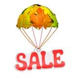 Concepto de la venta del otoño Etiqueta de papel del precio con el texto Fotografía de archivo