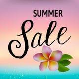 Concepto de la venta del verano Fondo del verano con la flor tropical ilustración del vector