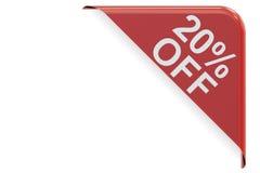 Concepto de la venta y del descuento, el 20% apagado Representación roja de la esquina 3D Imagen de archivo