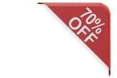 Concepto de la venta y del descuento, el 70% de esquina roja representación 3d Fotos de archivo libres de regalías