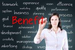 Concepto de la ventaja de la escritura de la mujer de negocios Fondo para una tarjeta de la invitación o una enhorabuena imagen de archivo