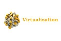 Concepto de la virtualización con las ruedas dentadas Foto de archivo libre de regalías