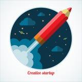 Concepto de lanzamiento con encender el cohete del lápiz libre illustration