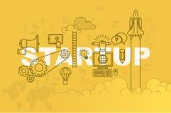 Concepto de lanzamiento de la bandera de la página web con la línea fina diseño plano libre illustration