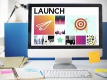Concepto de lanzamiento de la marca del éxito del lanzamiento de la blanco de las metas Fotos de archivo libres de regalías