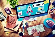 Concepto de lanzamiento del negocio del plan del éxito del crecimiento de las metas Fotografía de archivo