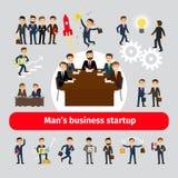 Concepto de lanzamiento plano con los hombres de negocios Fotos de archivo