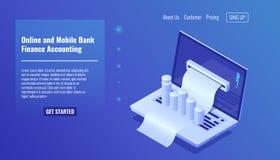 Concepto de las actividades bancarias, contabilidad de las finanzas, gestión de negocio y estadística móviles en línea, distribuc stock de ilustración