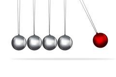 Concepto de las bolas de la plata de la horquilla de los neutonios Foto de archivo libre de regalías