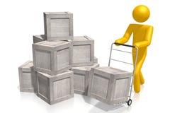 concepto de las cajas de madera 3D Imagenes de archivo