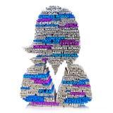 Concepto de las características y de las calidades de la mujer de negocios en un fondo blanco Imágenes de archivo libres de regalías