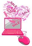 Concepto de las compras de Valentine Online Foto de archivo libre de regalías