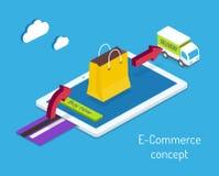 Concepto de las compras del comercio electrónico o de Internet Fotos de archivo