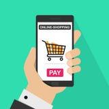 Concepto de las compras del Internet Artículos en carro de la compra Concepto del comercio electrónico El hacer compras en línea stock de ilustración