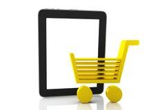 Concepto de las compras del Internet Carro de la compra y tableta Imagen de archivo
