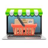 Concepto de las compras del ordenador de vector Foto de archivo