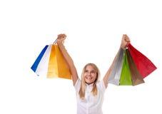 Concepto de las compras y del turismo - chica joven con los panieres aislados Fotos de archivo