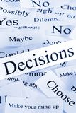 Concepto de las decisiones en palabras imagenes de archivo