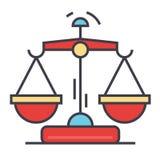 Concepto de las escalas de la ley y de la justicia Ilustración del Vector