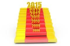 concepto de las escaleras del Año Nuevo 3d Imágenes de archivo libres de regalías