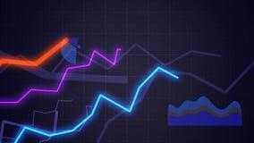 Concepto de las estadísticas La cámara se mueve sobre el crecimiento de cartas y de diagramas financieros Animación de colocación almacen de metraje de vídeo