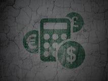 Concepto de las finanzas: Calculadora en fondo de la pared del grunge Fotos de archivo