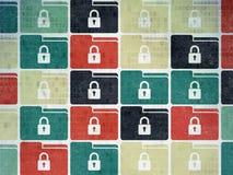 Concepto de las finanzas: Carpeta con los iconos de la cerradura en Digitaces Fotos de archivo libres de regalías