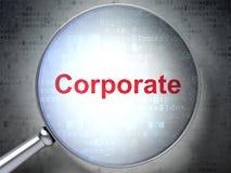 Concepto de las finanzas: Corporativo con el vidrio óptico Imagen de archivo