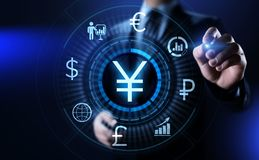 Concepto de las finanzas del negocio de intercambio de moneda de comercio de las divisas del símbolo de los YENES imagen de archivo