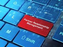Concepto de las finanzas: Gestión de la relación del socio en fondo del teclado de ordenador Foto de archivo
