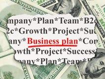 Concepto de las finanzas: Plan empresarial en el dinero Fotos de archivo libres de regalías
