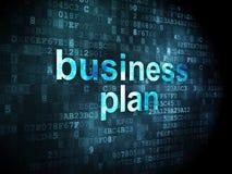 Concepto de las finanzas: Plan empresarial en fondo digital Foto de archivo