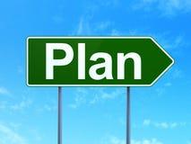 Concepto de las finanzas: Plan en fondo de la señal de tráfico Imagenes de archivo