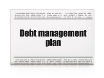 Concepto de las finanzas: plan de gestión de la deuda del título de periódico Fotos de archivo libres de regalías