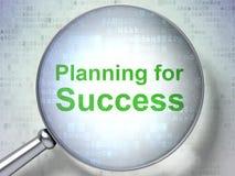 Concepto de las finanzas: Planificación para el éxito con el vidrio óptico imagen de archivo libre de regalías